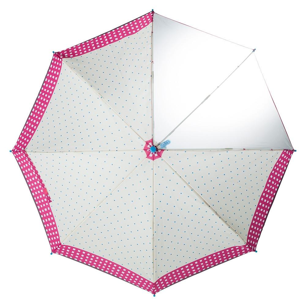子供傘 軽量安全ワンタッチ傘 55cm ドット&チェック