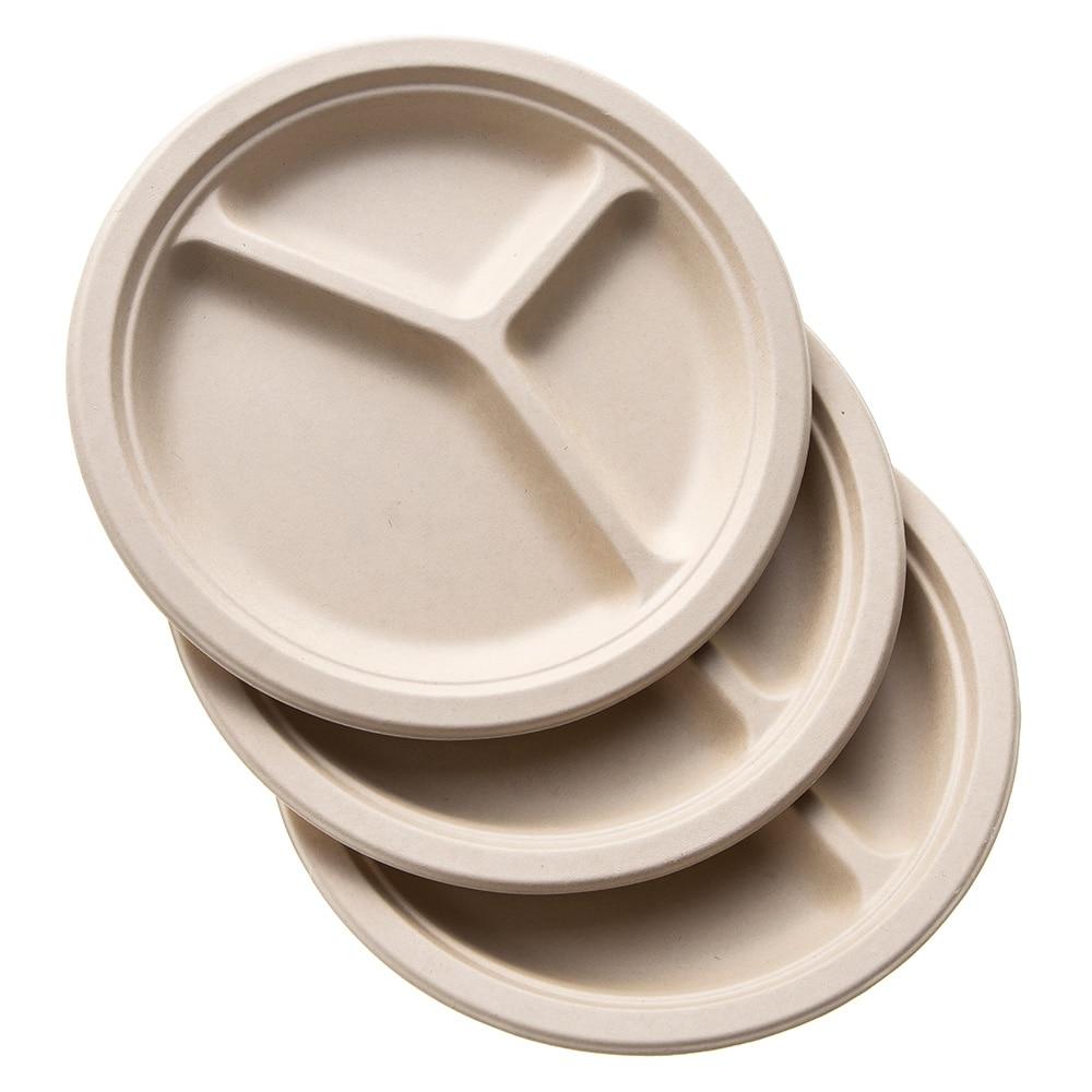 【数量限定】無漂白の麦プレート 仕切り付 26cm 3枚入