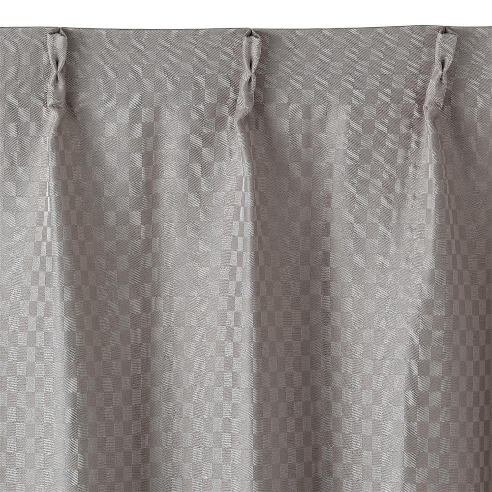 遮光性防炎カーテン 市松 ベージュ 200×230 1枚入
