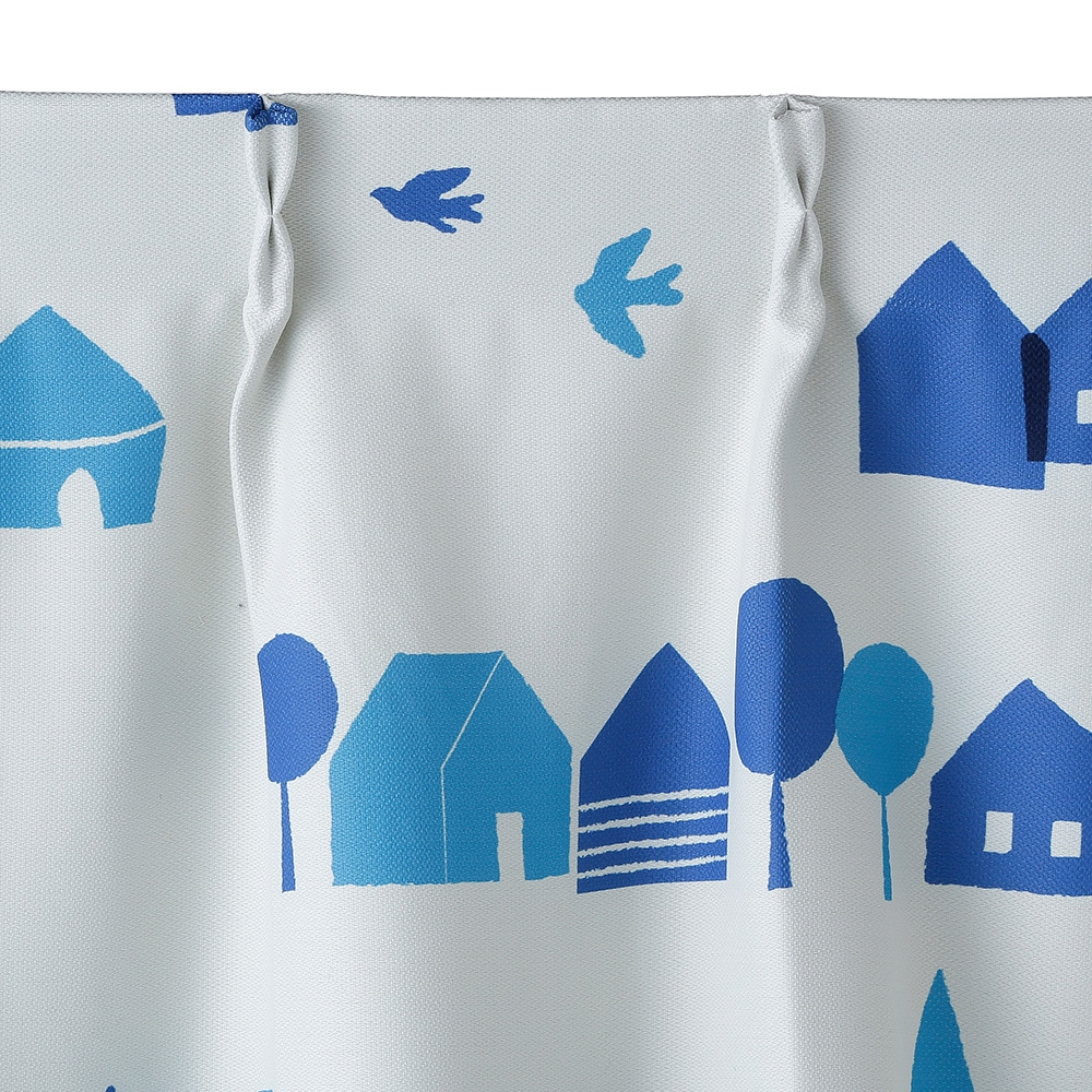 遮光性カーテン ハウス ブルー 100×135cm 2枚組