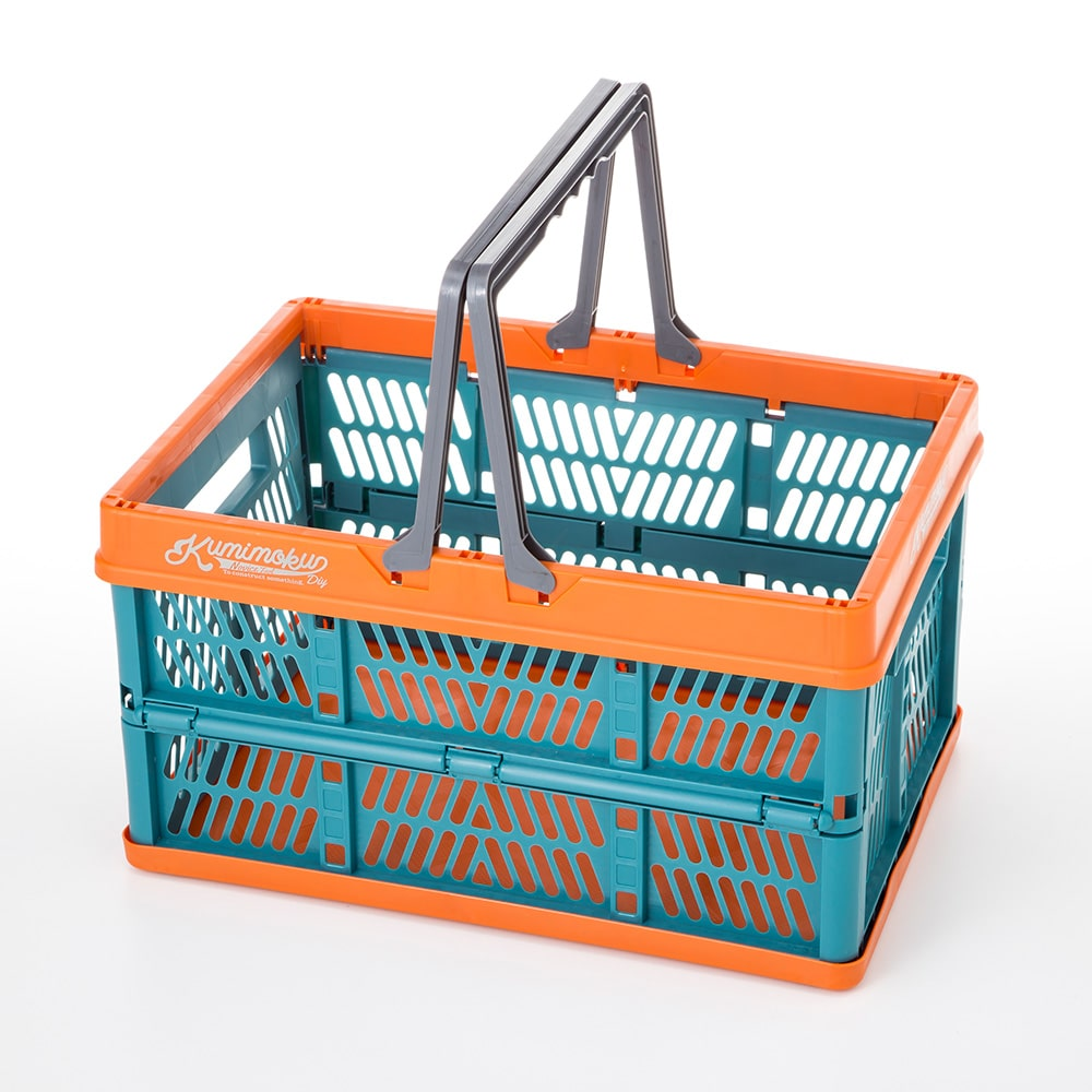 Kumimoku 取っ手付き折りたたみコンテナ ブルー&オレンジ