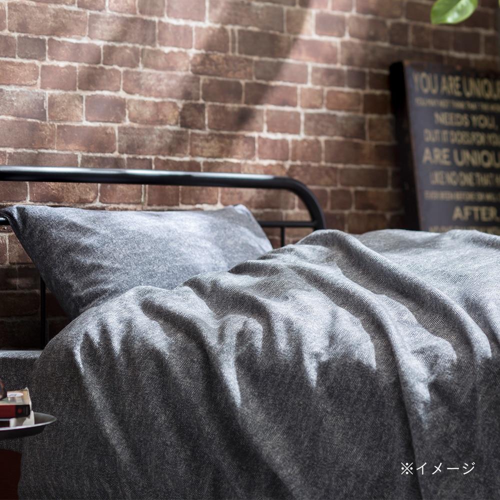 ボックスシーツ 綿フラノグレー セミダブル 120×200×30