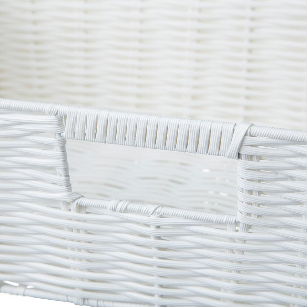 インテリアバスケット ホワイト 浅型