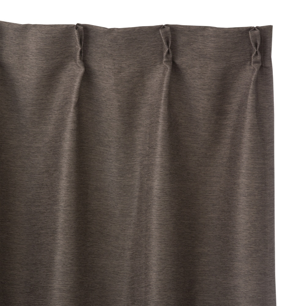 遮光防炎カーテンメホール ブラウン 100×178 2枚組