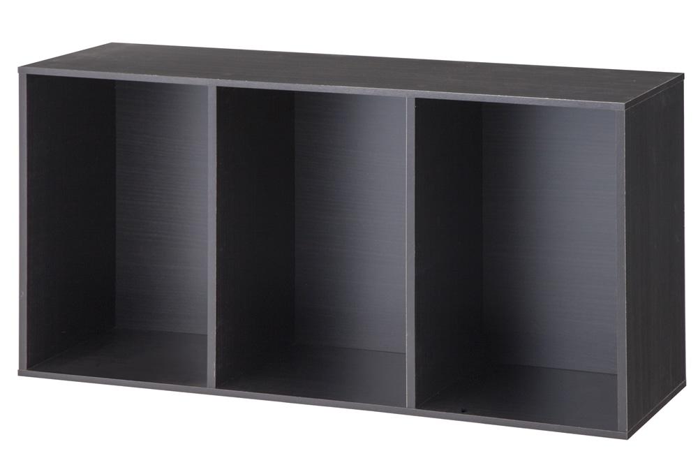 カラーボックス T6 固定棚収納ボックス3段 ブラウン