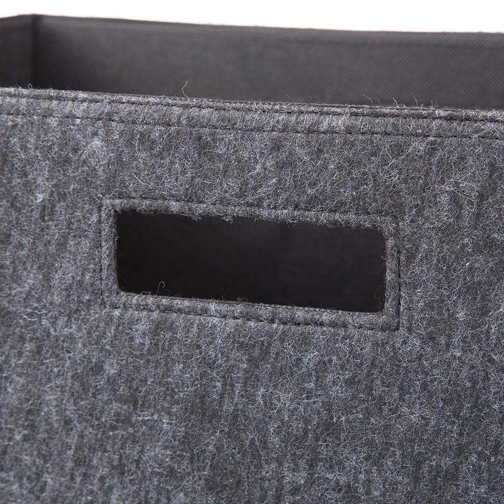 持ち運びしやすい折りたたみ収納ボックス フェルトブラック