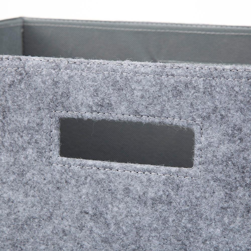 持ち運びしやすい折りたたみ収納ボックス フェルトグレー