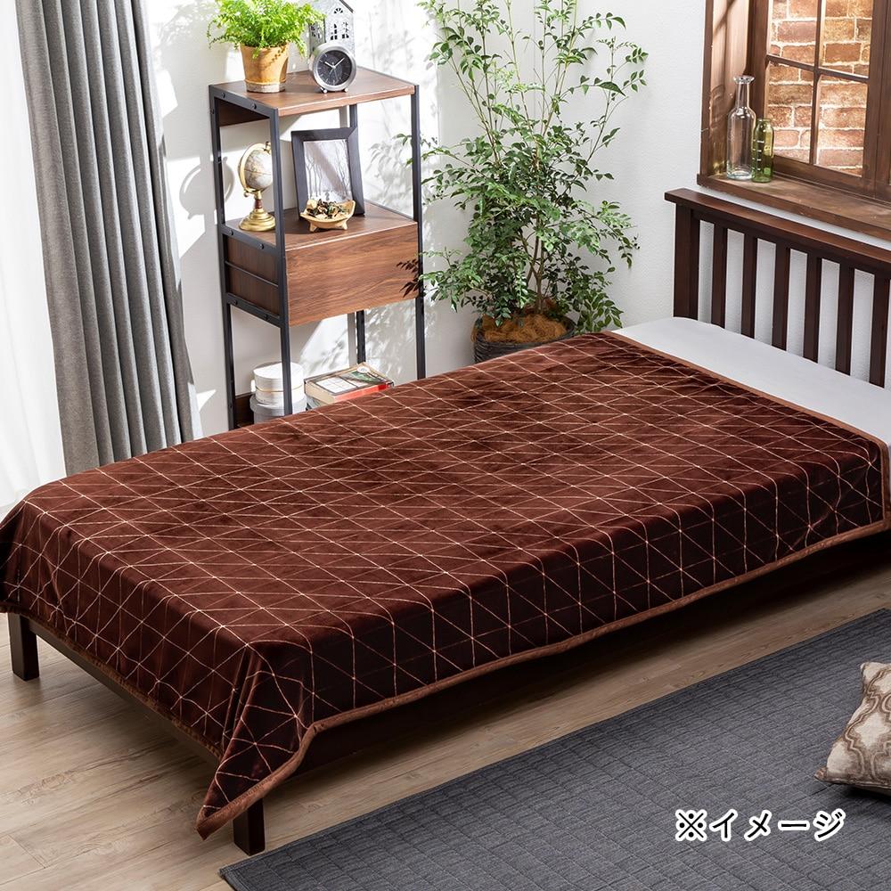 【2019秋冬】ふんわりやわらか毛布 セミダブル 楓 160×200 ブラウン