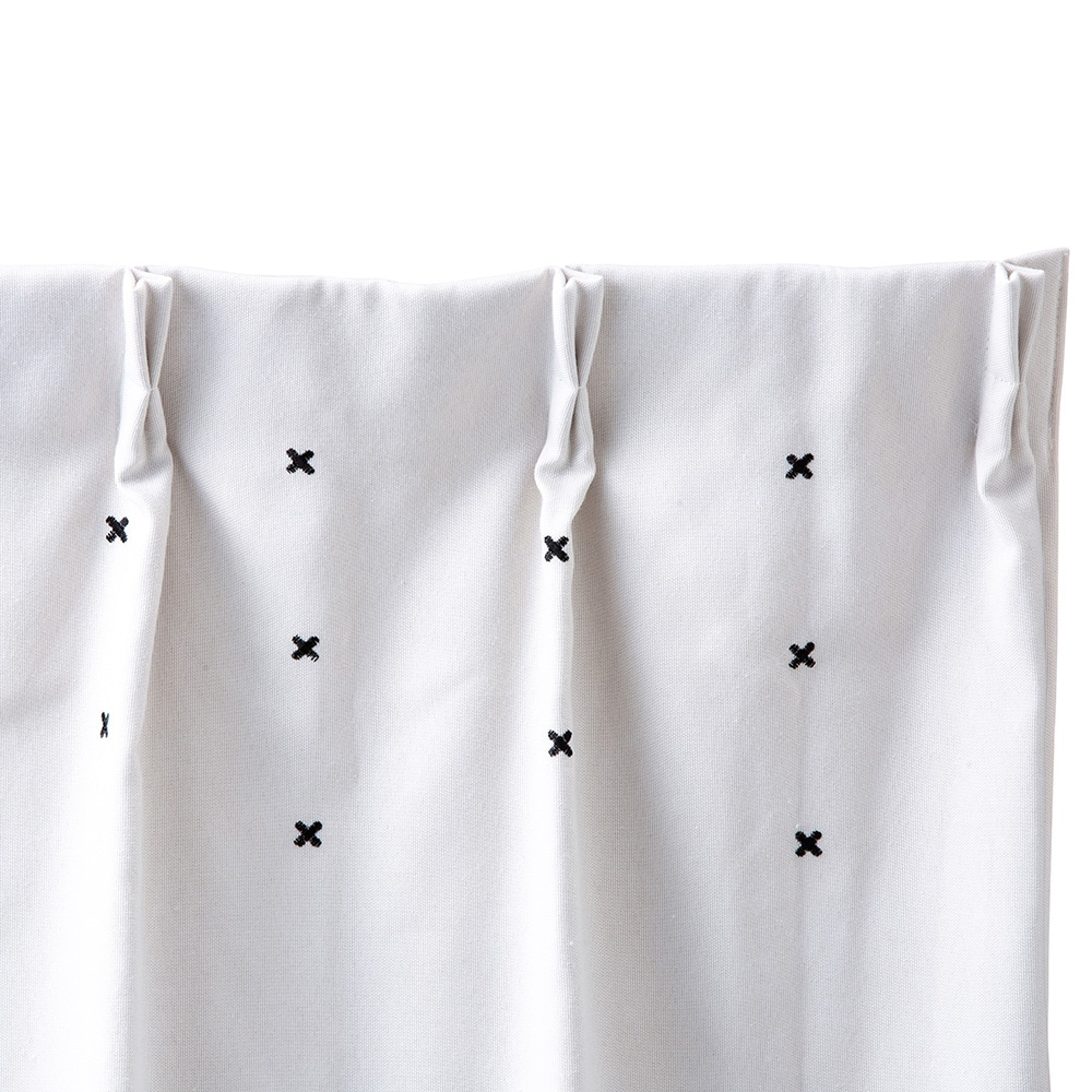 遮光裏地付きカーテン ステッチ アイボリー 100×178 2枚組