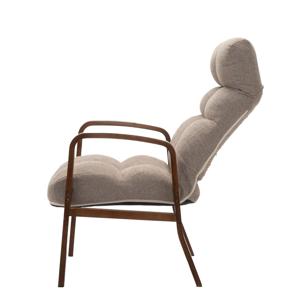 立ち座りがしやすい木製ふかふか高座椅子 ベージュ