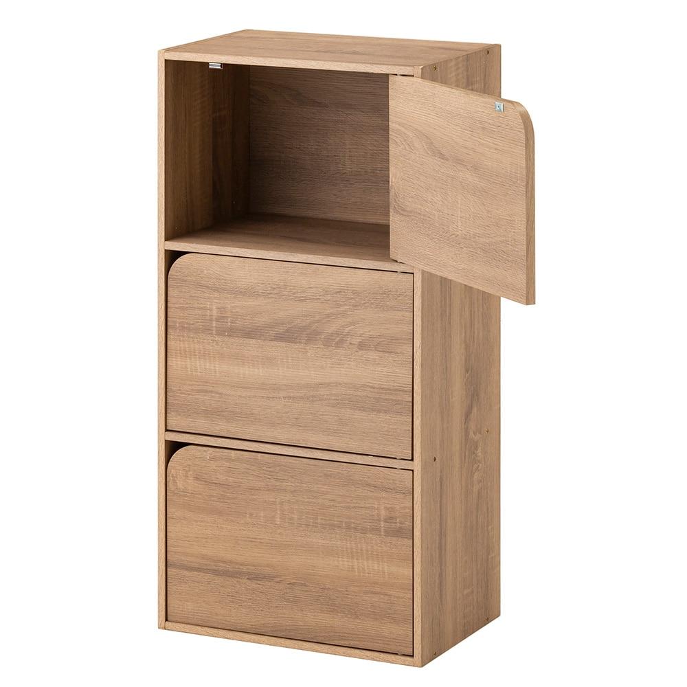 ドア付き 収納ボックス 3段 ナチュラルエルム