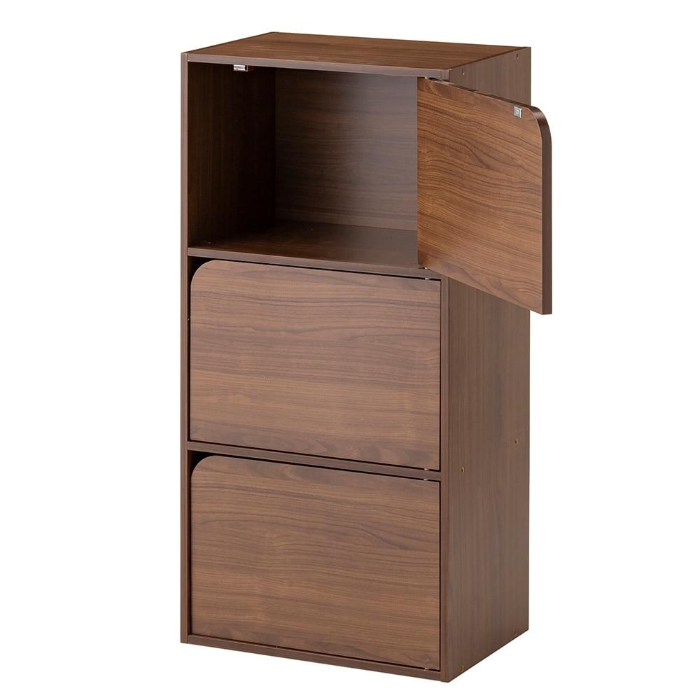 ドア付き 収納ボックス 3段 ブラウン