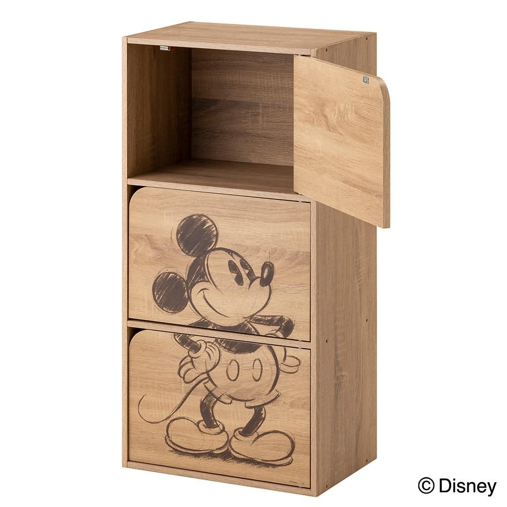 【数量限定】ドア付き 収納ボックス 3段 ミッキー ナチュラルエルム