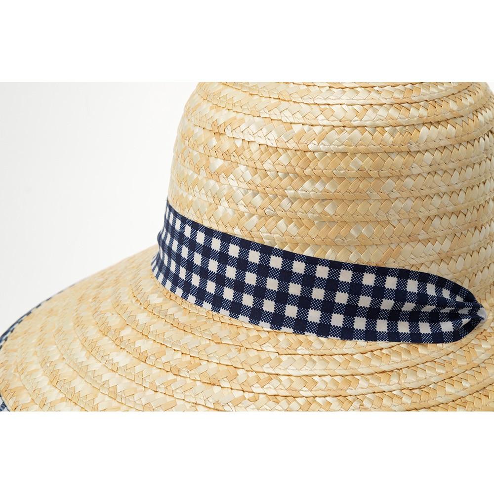 婦人麦わら帽子(消臭糸使用)ハマグリ ネイビーチェック