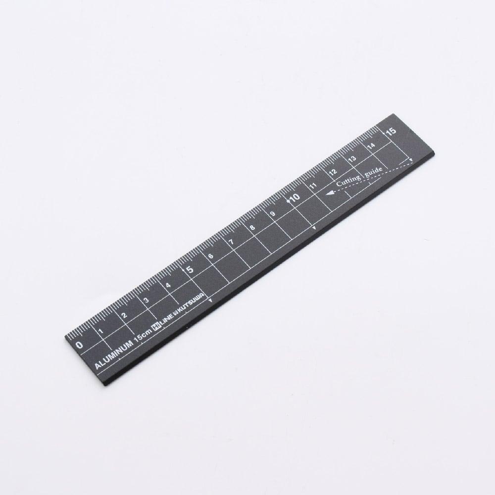 クツワ アルミ定規15cm ブラック
