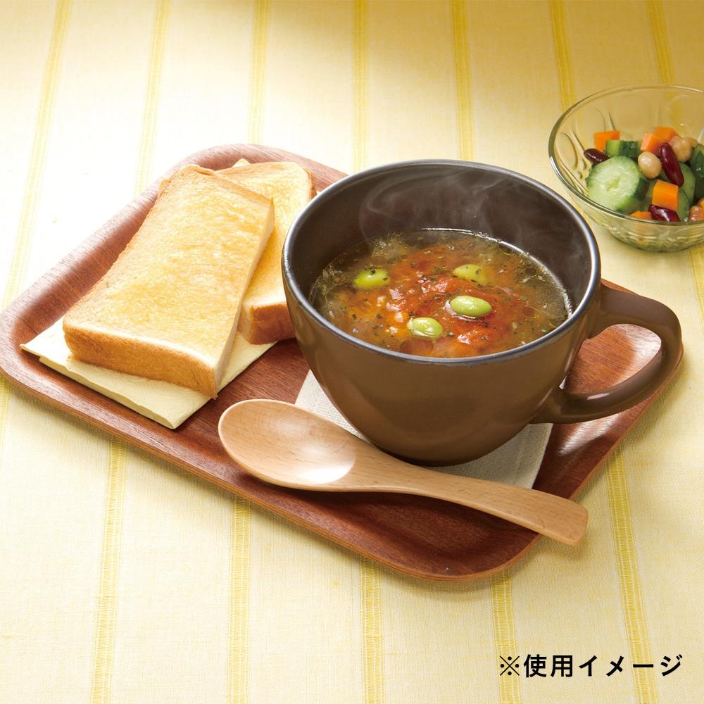 【数量限定】電子レンジ調理 魔法のスープマグ 木スプーン付き ブラウン
