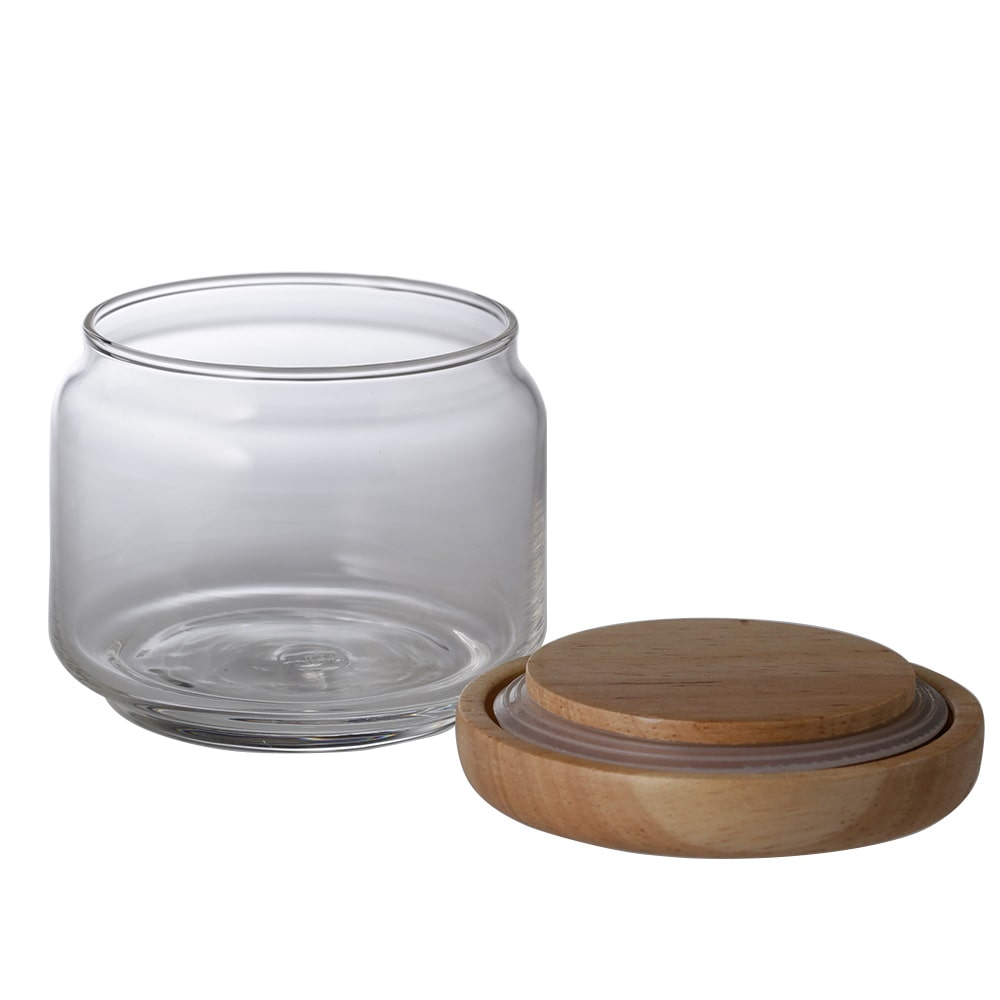 【trv】ラバーウッドキャップガラスジャー 225ml