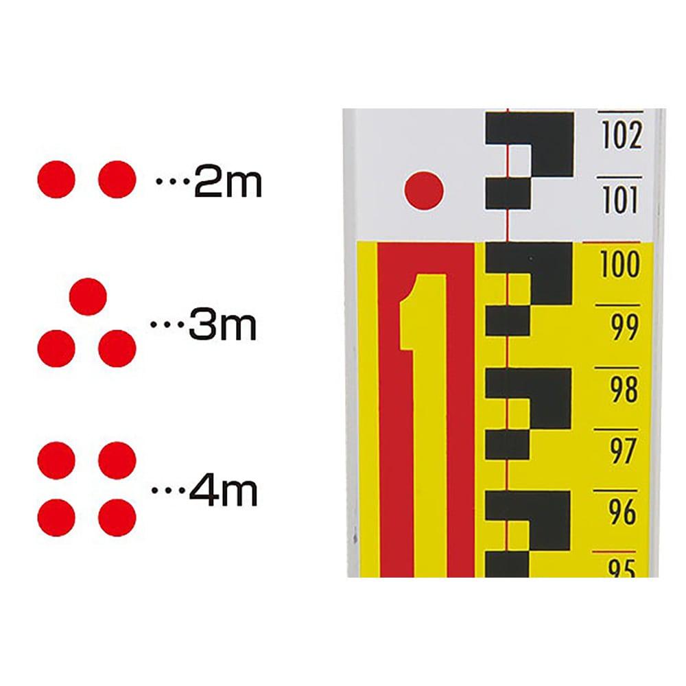 アルミスタッフ  II 5m5段 表面 10mmピッチ 裏面1mmピッチ目盛付