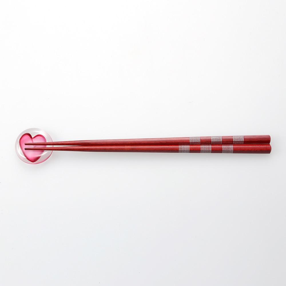 【trv】津軽びいどろ 箸置き ハートPK
