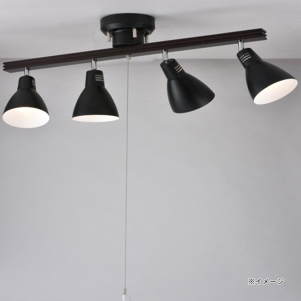 オーム電機 4灯シーリングライト ブラック 電球別売 YN40AW-K 06-1489