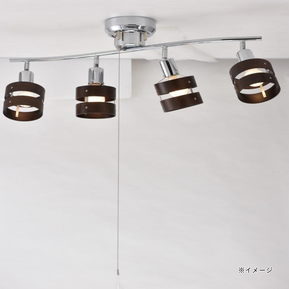 【店舗限定】オーム電機 4灯シーリングライト ウッドリング 電球別売 LT-YN40BW 06-1490