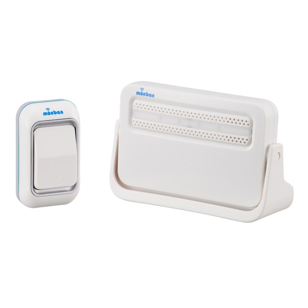 オーム電機 ワイヤレスチャイム 電池式受信機+押しボタンセット