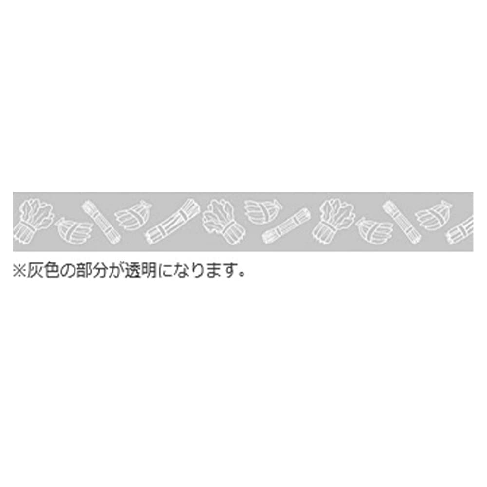 【ケース販売】たばねらテープ 野菜・果物イラスト 透明 20mm×100m[4987167059965×80]