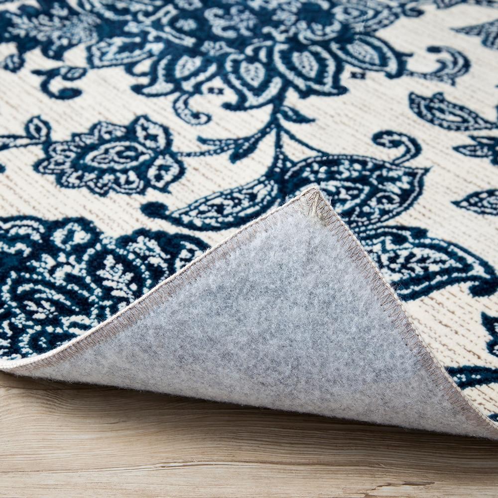 ウィルトンラグ フルール 185×185 ブルー