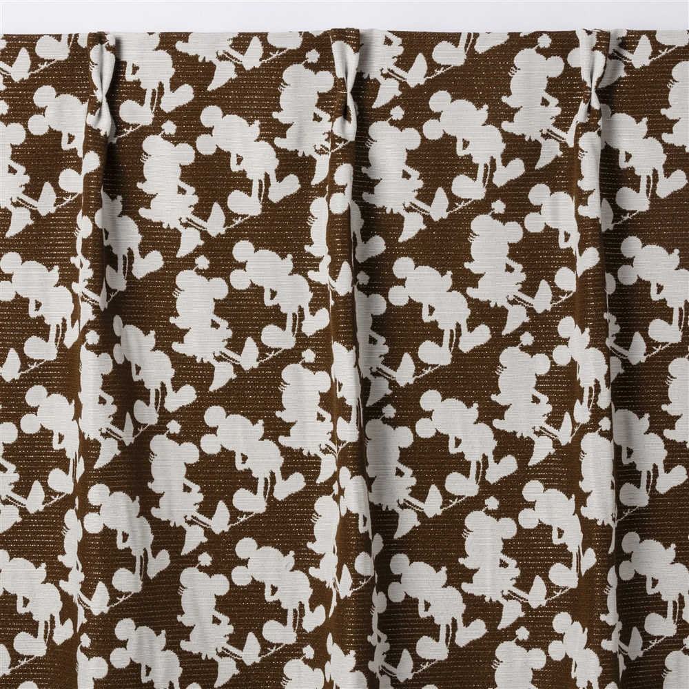 4枚組遮光セットカーテン ミッキー&ミニー 100×178 ブラウン