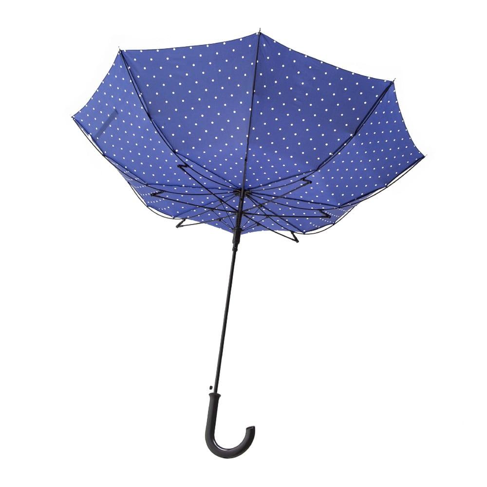 風に強い撥水ジャンプ傘 60cm ドットネイビー