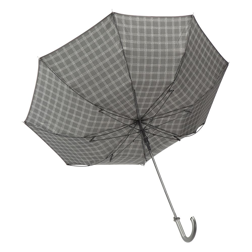 風に強いジャンプ傘 65cm チェック グレー