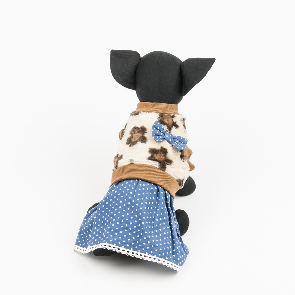 【数量限定】ドットスカート付きウェア ベージュ L