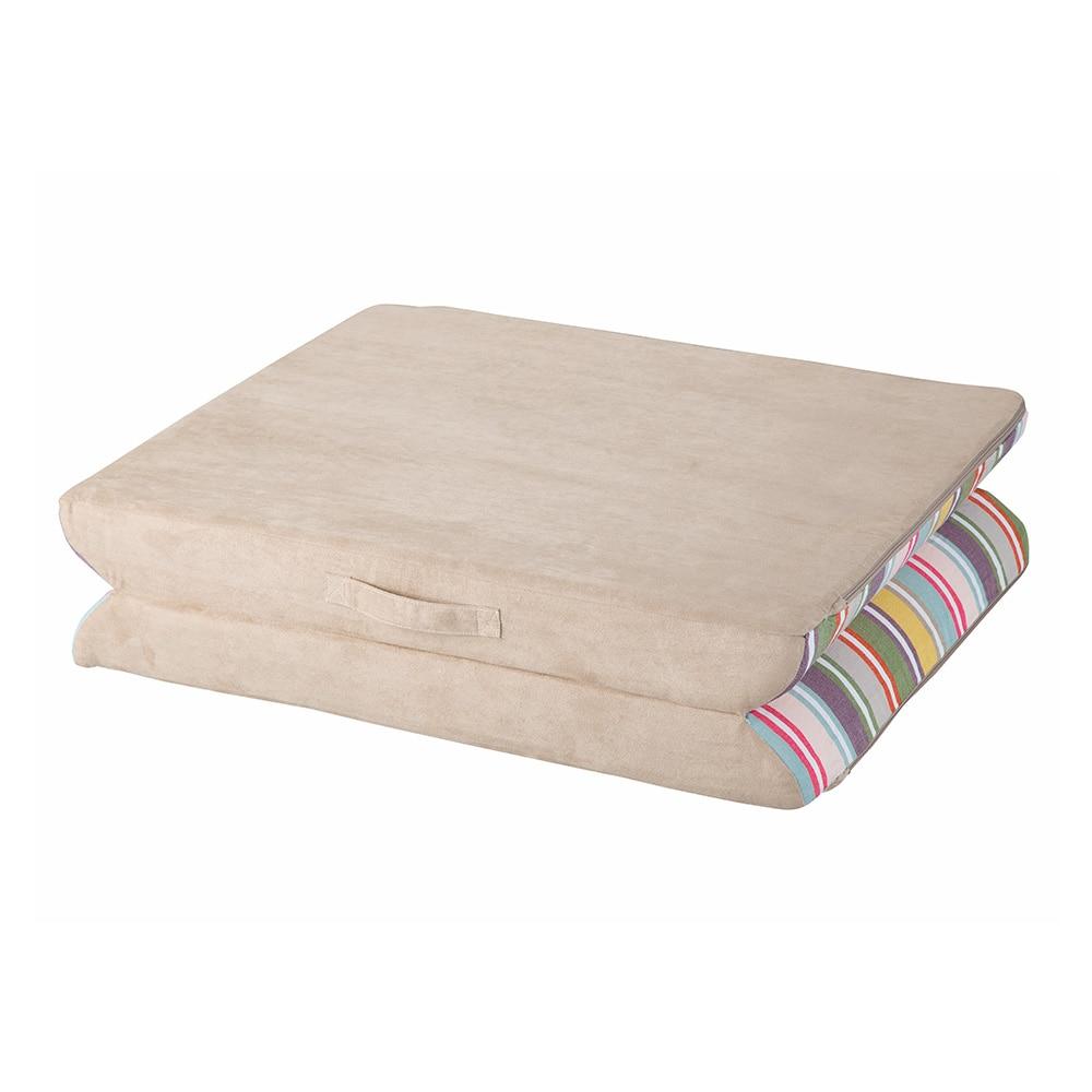 【店舗限定】汚れが付きにくい折り畳めるクッション ストライプ