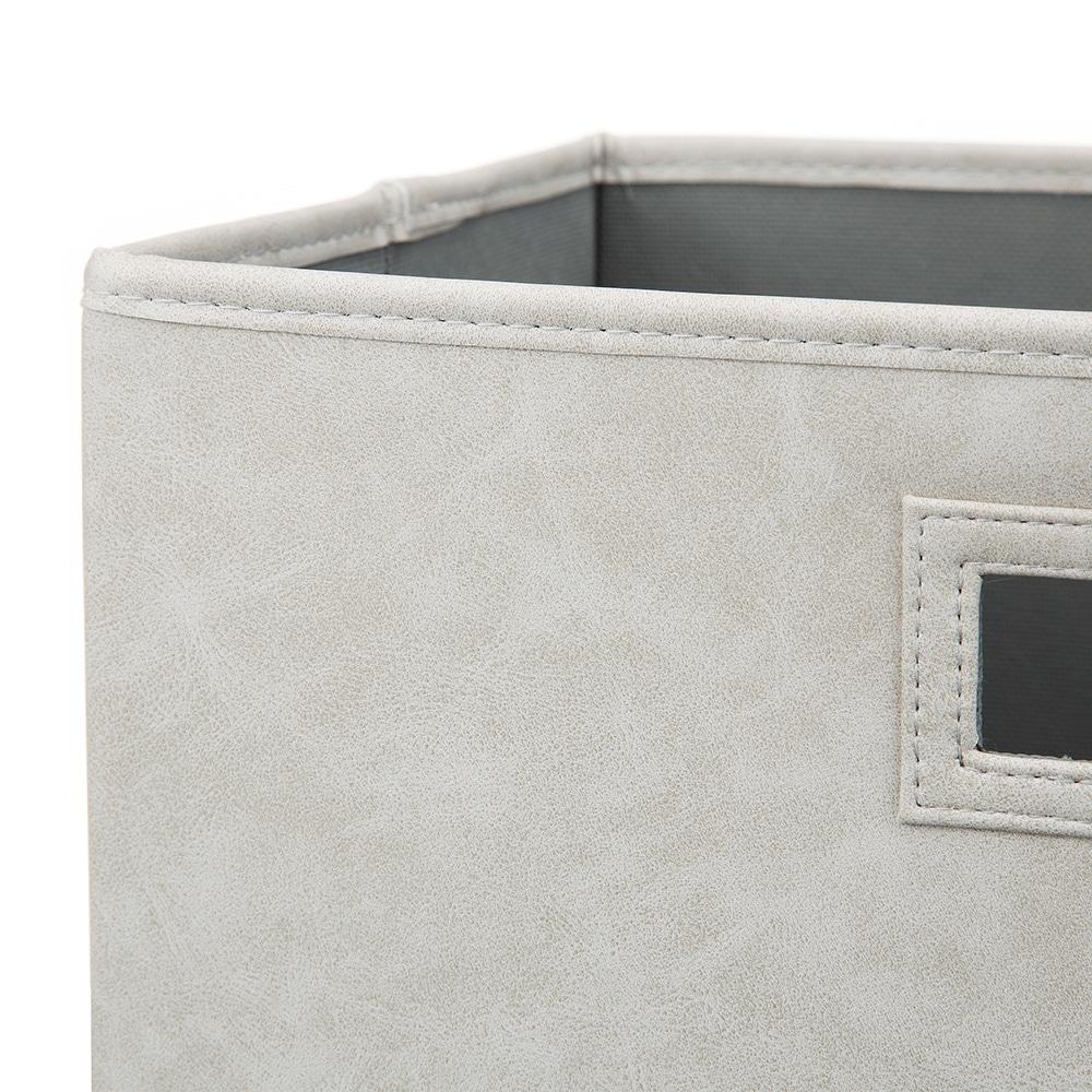 持ち運びしやすい折りたたみ収納ボックス レザー調グレー