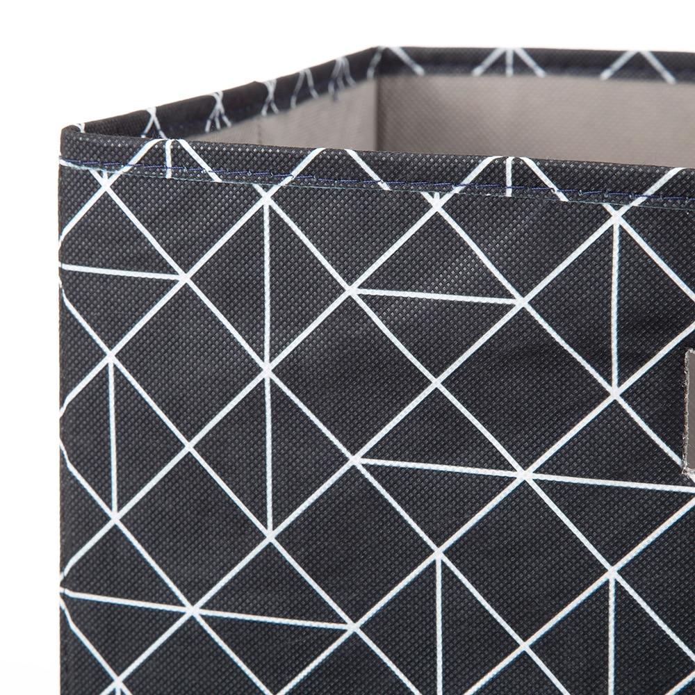 持ち運びしやすい折りたたみ収納ボックス 幾何ブラック