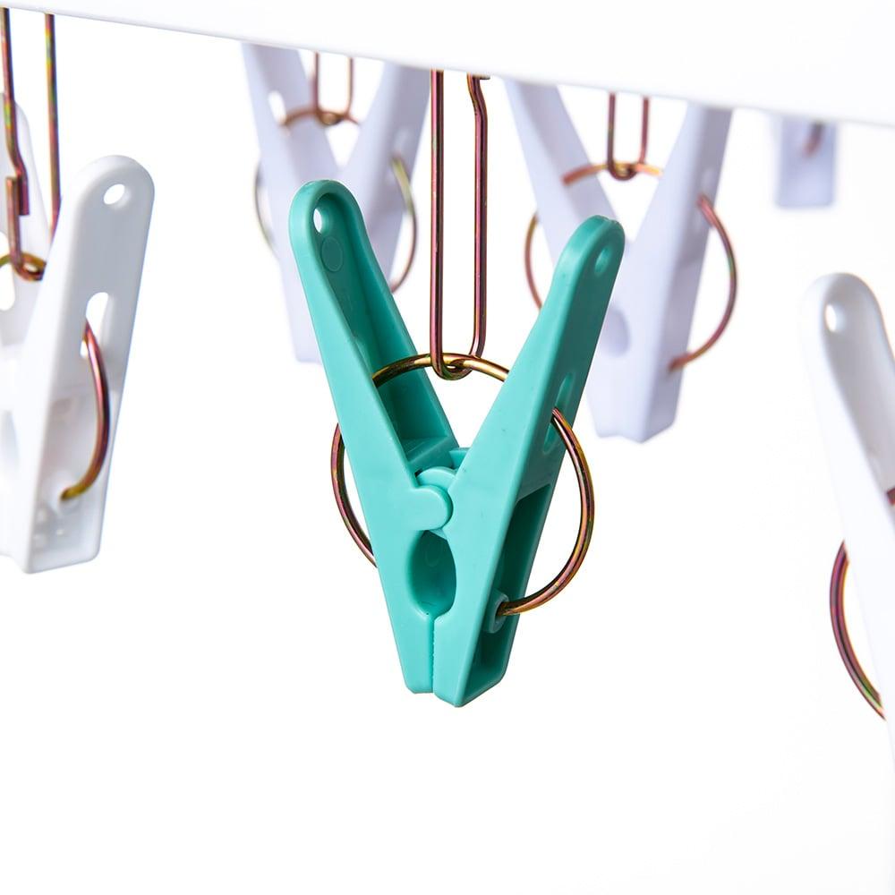 【数量限定・2019春夏】竿に掛けやすい洗濯ハンガー 40ピンチ ミントグリーン