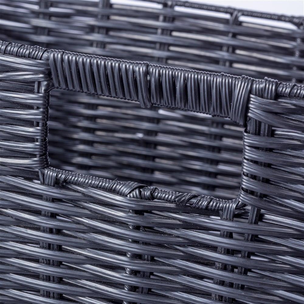 インテリアバスケット ブラック 浅型