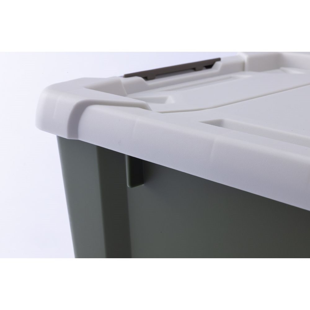 Kumimoku バックル付きストッカー 浅型 ホワイト/カーキ