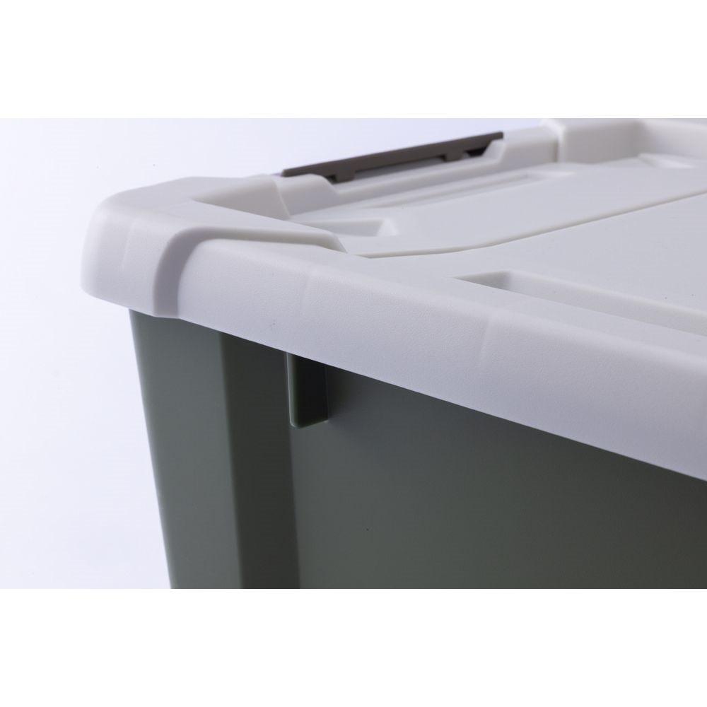 Kumimoku バックル付きストッカー 深型 ホワイト/カーキ