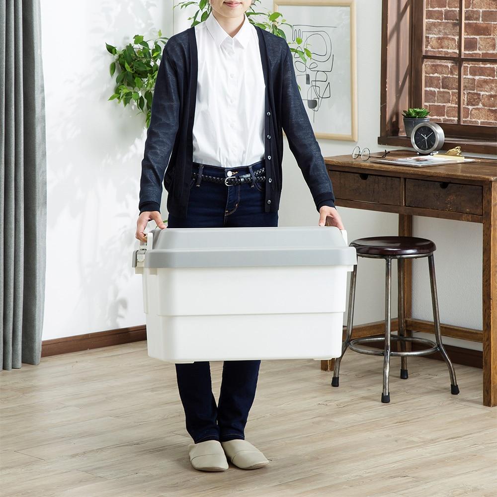 座れる丈夫な収納BOX 50 ホワイト