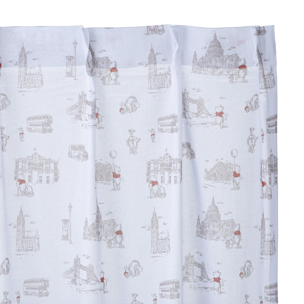 レースカーテン くまのプーさん/ロンドン 100×175 2枚組【別送品】