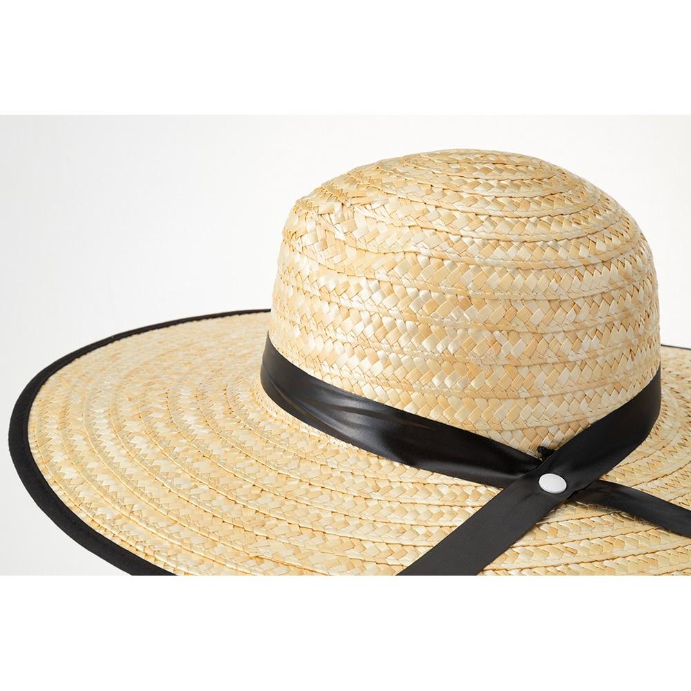 紳士日よけ付麦わら帽子(消臭糸使用) ブラック