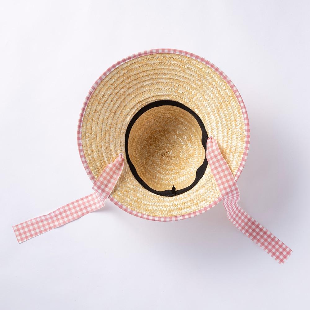 婦人麦わら帽子(消臭糸使用)ハマグリ ピンクチェック