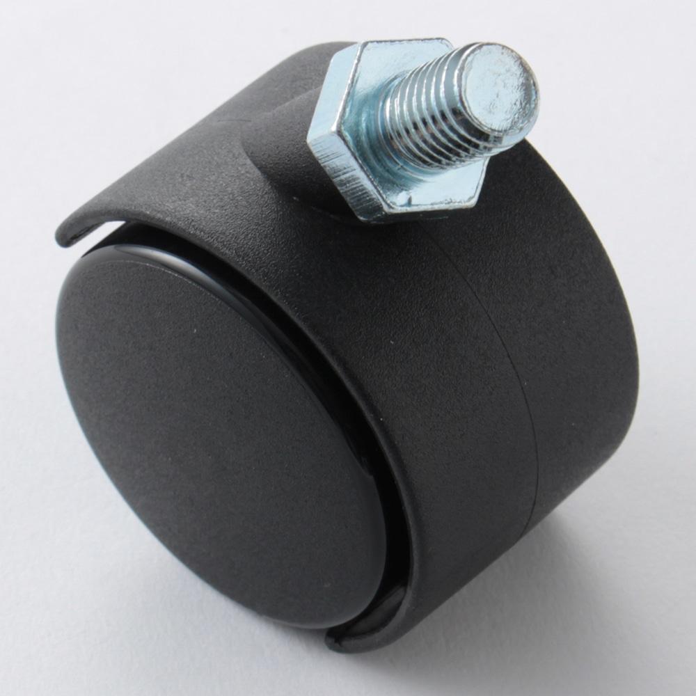 双輪ナイロンキャスター 50mm(ねじ込M12)SN50BK