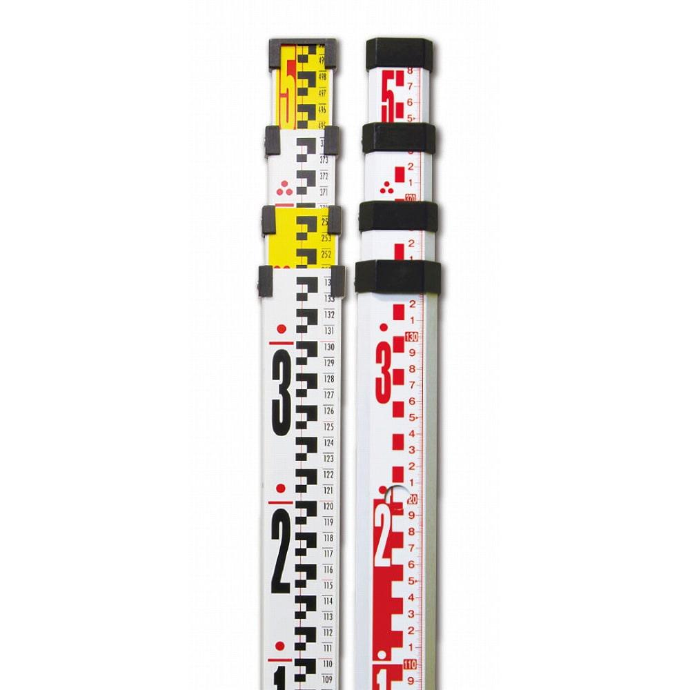 アルミスタッフ  II 5m4段 表面10mmピッチ 裏面1mmピッチ目盛付