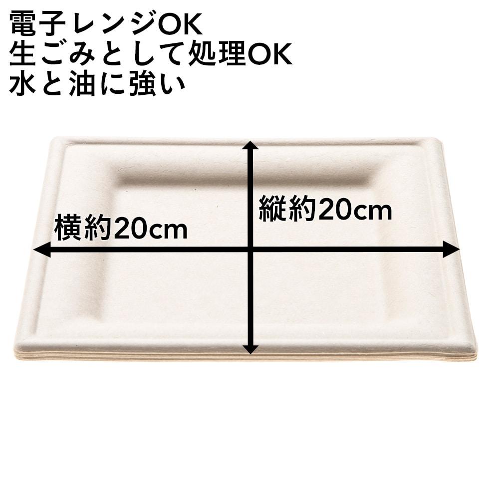 【数量限定】無漂白の麦プレート 角型 20cm 5枚入