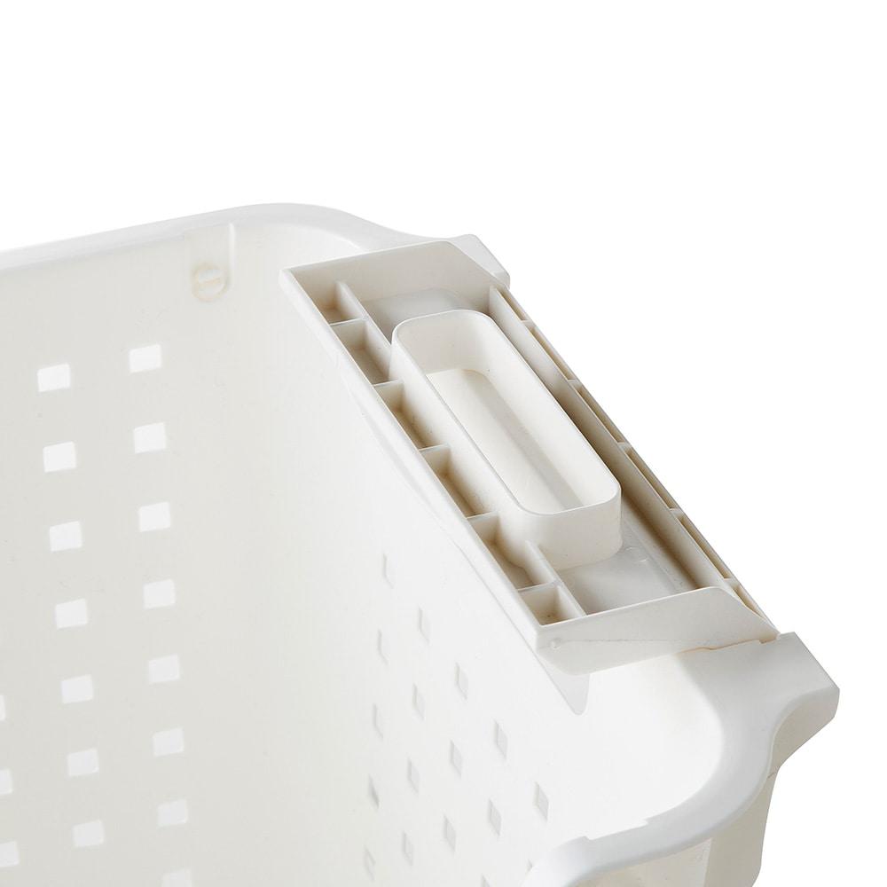 積み重ねても出し入れできるバスケット ホワイト