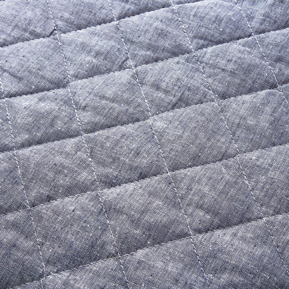 敷きパッド 綿麻ネイビー シングル 100×200