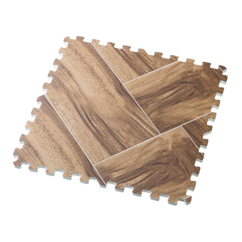 【数量限定】水や汚れに強い木目調ジョイントマット9枚組 ブラウン