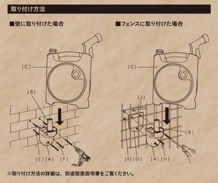 壁掛けも出来るコンパクトホース付リール 10m
